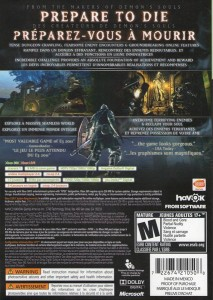 Dark Souls back of game box