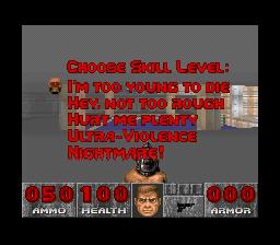 Doom difficulty selector