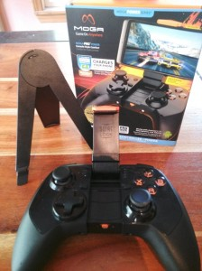 Moga Pro Power, box, and stand